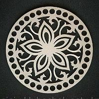 Деревянное донышко круг Лилия с орнаментом
