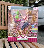 Кукла Барби с дочкой и велосипедом
