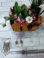Серебряный национальный комплект 925 пробы из колье, серег и кольца