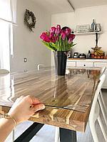 Скатерть Клеенка прозрачная, гибкое стекло, силиконовая 0.4 мм, 1.5 мм