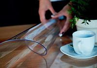 Скатерть Клеенка прозрачная, гибкое стекло, силиконовая 0.4 мм 160 см