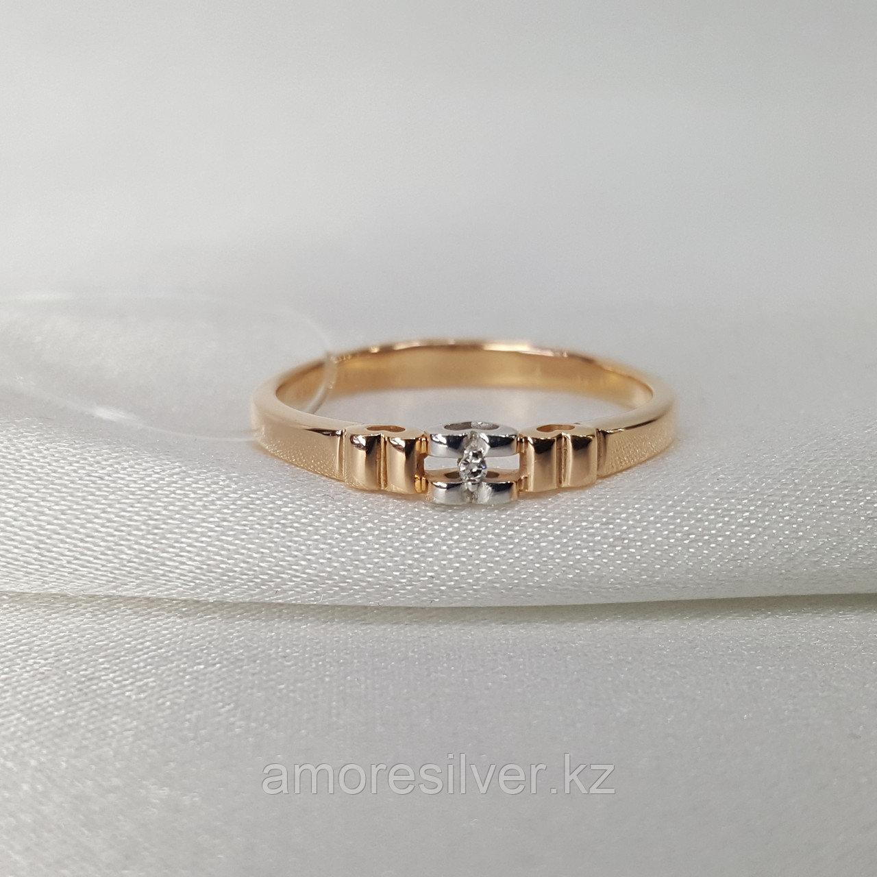 Серьги AQUAMARIN серебро с позолотой, бриллиант 060128.6 размеры - 17