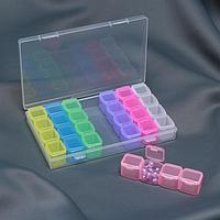 Контейнер для рукоделия, 7 контейнеров по 4 отделения, 18,5 × 10,5 × 2,5 см, цвет МИКС
