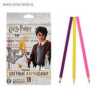 """Карандаши цветные 18 цветов """"Гарри Поттер"""", заточенные, картонная коробка, европодвес"""