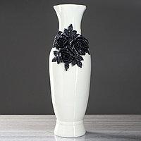 """Ваза напольная """"Илона"""", белая, чёрная лепка, керамика, 63 см, микс"""