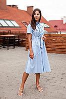 Женское летнее хлопковое голубое нарядное платье KRASA 126-21 голубой 42р.