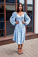Женское летнее голубое нарядное платье KRASA 244-21 голубой 42р.