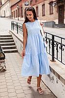 Женское летнее хлопковое голубое нарядное платье KRASA 116-21 голубой 42р.