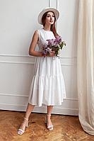Женское летнее хлопковое белое нарядное платье KRASA 116-21 белый 42р.