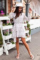 Женское летнее шифоновое белое нарядное платье KRASA 224-21 молочный 42р.