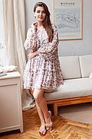 Женское летнее шифоновое бежевое нарядное платье KRASA 261-21 беж 42р.