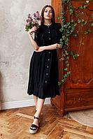 Женское летнее из вискозы черное нарядное платье KRASA 264-21 черный 42р.