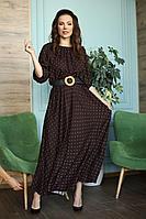 Женское летнее из вискозы коричневое большого размера платье Anastasia 655 коричневый 48р.