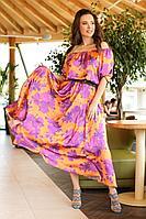 Женское летнее большого размера платье Anastasia 656 оранженвый 52р.