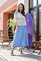 Женский летний кружевной голубой большого размера брючный комплект Anastasia 659 сине-желтый 46р.