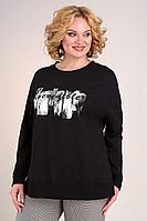 Женская осенняя трикотажная черная большого размера блуза Jurimex 2521 52р.