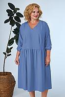 Женское летнее синее большого размера платье Anastasia 668а синий 52р.