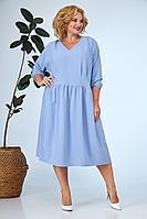 Женское летнее голубое большого размера платье Anastasia 668а голубой 52р.