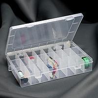 Контейнер для рукоделия, со съёмными ячейками, 24 отделения, 19,5 × 13,5 × 3,5 см, цвет прозрачный