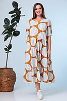 Женское летнее из вискозы большого размера платье Anastasia 634 горчица 50р.