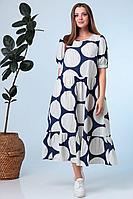 Женское летнее из вискозы большого размера платье Anastasia 634 синий 58р.
