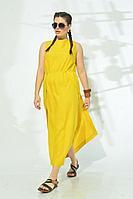 Женское летнее льняное желтое платье MALI 421-054 желтый 46р.
