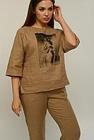 Женская летняя льняная коричневая большого размера блуза MALI 621-031 капучино 44р.