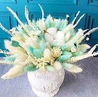 Композиция из сухоцветов в белом кашпо, цвет Белый и тифани, высота 30-35 см