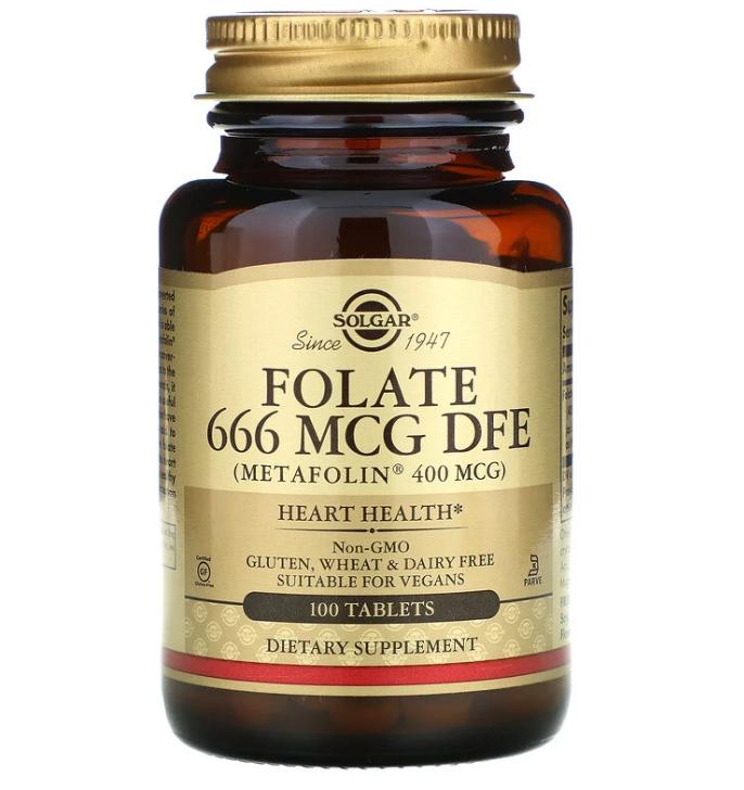 Solgar, фолат в виде метафолина, 400 мкг, 100 таблеток