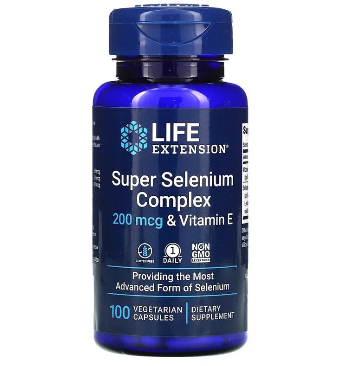 Life Extension, суперкомплекс селена с витамином E, 200 мкг, 100 вегетарианских капсул