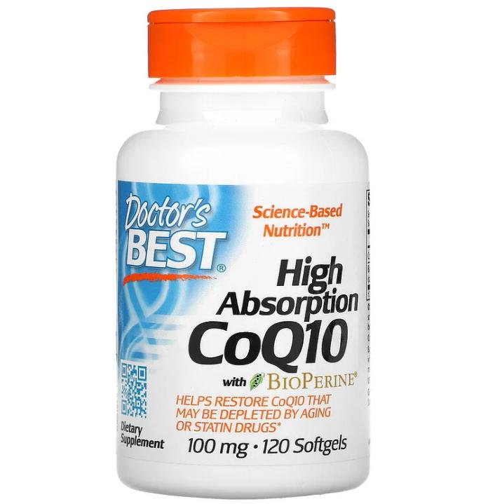 Doctor's Best, коэнзим Q10 с высокой степенью всасывания с BioPerine, 100 мг, 120 капсул