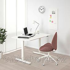 БЕКАНТ Стол/трансф, дубовый шпон, беленый, белый, 120x80 см, фото 3