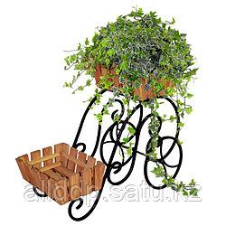 Подставка 59-402 на 2 цветка (металл+дерево)