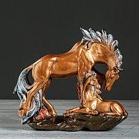 """Сувенир """"Семья лошадей"""" бронзовый цвет, 30 см, микс"""