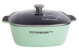 """Кастрюля-жаровня """"Titanium Pro"""" 5 л. со стеклянной крышкой 28*28см"""