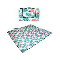 Пляжный коврик-сумка складной непромокаемый текстиль 150х180 см тропический узор с фламинго