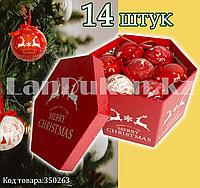 Набор елочных украшений шаров в подарочной упаковке 14 штук с рисунком Merry Christmas с оленями красно-белая