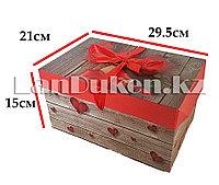 """Подарочная упаковка """"розы и сердечки"""" большая (15 х 21 х 29,5 см)"""