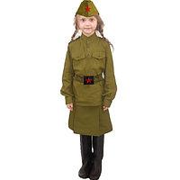 Костюм военный детский карнавальный для девочек защитного цвета
