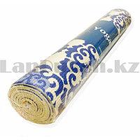 Коврик для йоги и фитнеса (йогамат) 5 мм 61х173 см с восточным узором белый с голубым узором