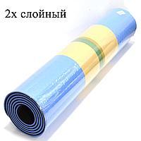 Коврик для йоги и фитнеса (йогамат) двухслойный 6 мм сине черный