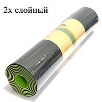 Коврик для йоги и фитнеса (йогамат) двухслойный 6 мм зелено черный