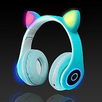 Беспроводные наушники стерео Bluetooth с микрофоном LED цветовой подсветкой и радио складные Cat Ear Голубой