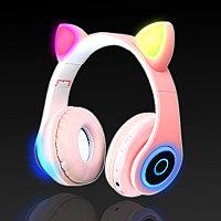 Беспроводные наушники стерео Bluetooth с микрофоном LED цветовой подсветкой и радио складные Cat Ear Розовый