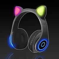 Беспроводные наушники стерео Bluetooth с микрофоном LED цветовой подсветкой и радио складные Cat Ear Черный