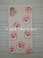 Чехол для смартфона гелевый IPHONE X розовый кошачьи лапки