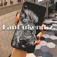 Чехол на iPhone XR (Apple iPhone XR) матовый черный принт льва