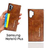 Чехол для смартфона кошелек визитница кожаный для Samsung Note10 Plus коричневый