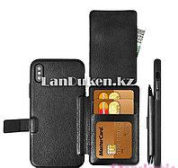 Чехол на iPhone XS Max (Apple iPhone XS Max) кожаный книжка с карманом для карт черный