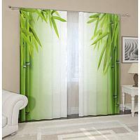 Комплект штор «Листья бамбука», размер 145 х 260 см, 2 шт., габардин